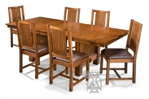 Solid Mindi Wood Mission Hills Extension Trestle Dining Table