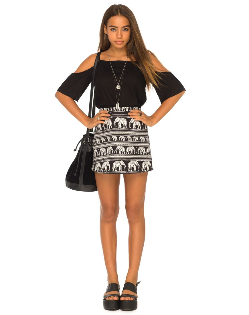 3577db2693 Annie A Line Skirt in Elephant Black and White by Motel at Motel Rocks - Motel  Rocks
