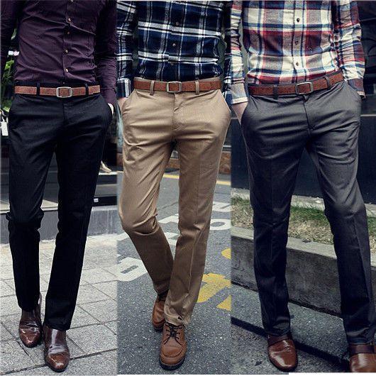 Korean Fashion Men S Casual Solid Long Trousers Joker Slim Fit
