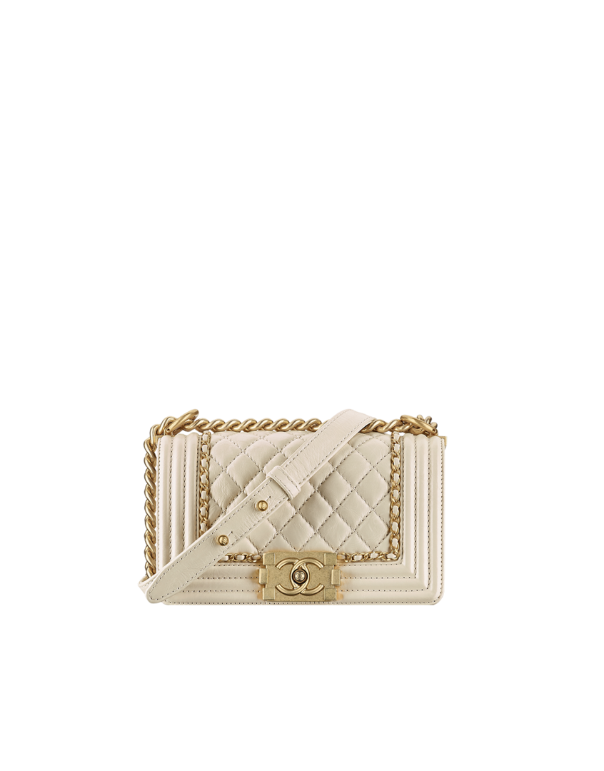 Small boy CHANEL flap bag, aged calfskin   gold metal-white - CHANEL ... 4ca2c40d78