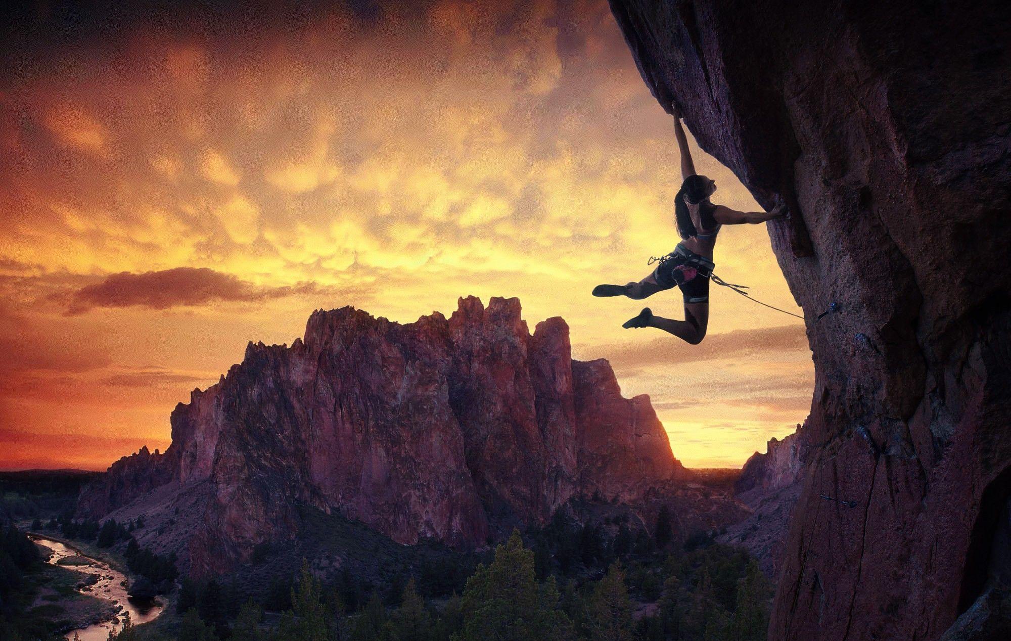 Nature Sunlight Women Mountains Climbing Sky Landscape