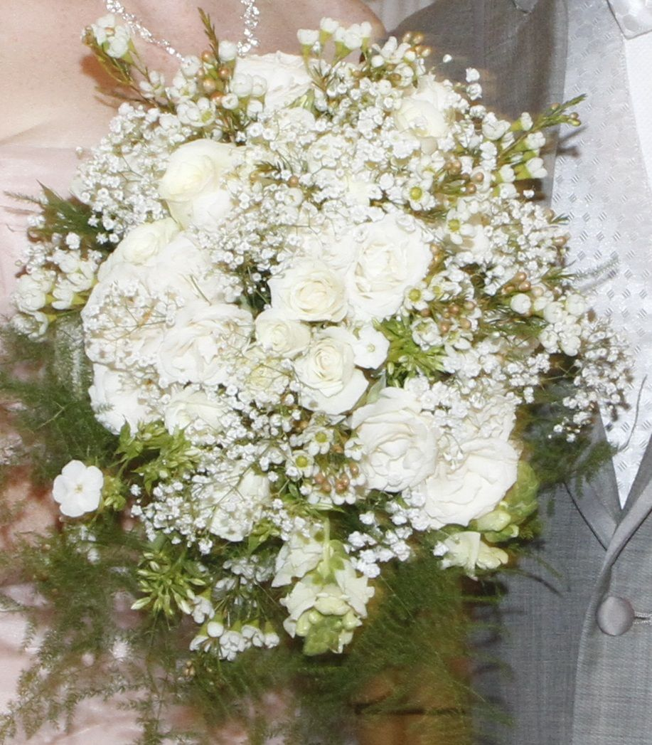 Bridal bouquet of spray roses wax flower mini carnations for Flower sprays for weddings