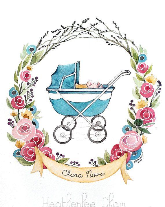 Baby Carriage Watercolor Flowers Custom Name Original 9 X