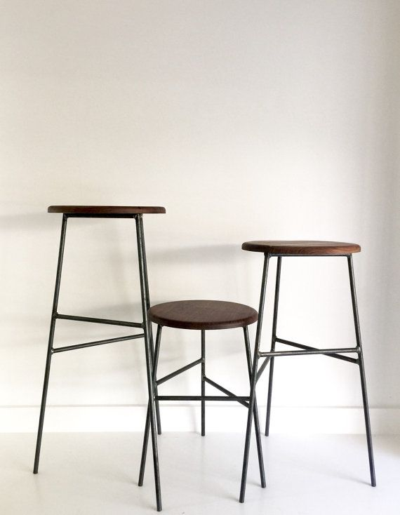 Black Walnut Wood and Raw Steel dining counter and bar wood stools