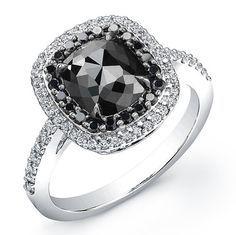 Beautiful White Gold 2 ct Cushion Black #Diamond Ring. http://jangmijewelry.com/