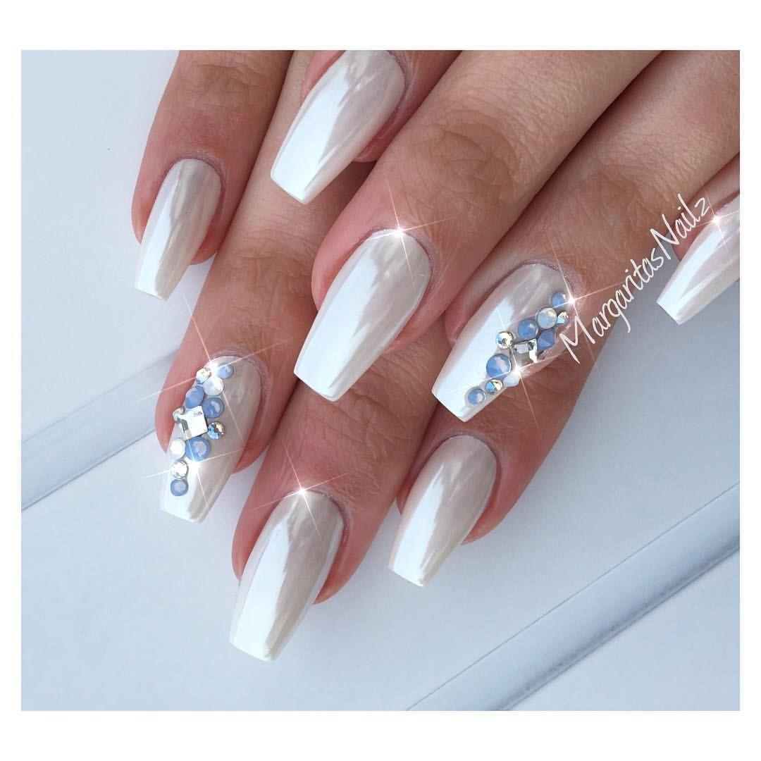 White Chrome Nails White Chrome Nails Rhinestone Nails Chrome Nails