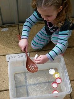 Fishing for letters, great water play activity!