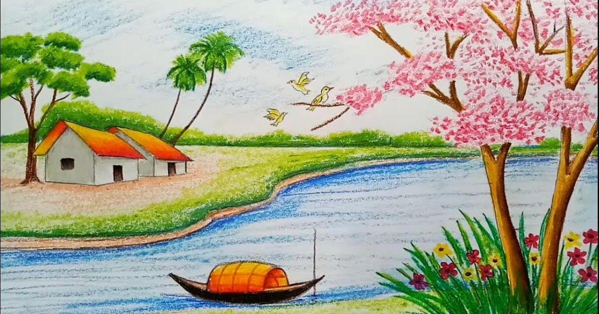 26 Contoh Gambar Pemandangan Dengan Pensil Warna Lukisan
