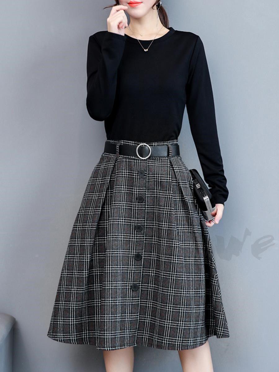 ファッション通販 fashion doresuweレディースファッション丸ネック長袖チェック柄ミドル丈偽二つ切り替えワンピース 商品番号 13672969 ファッションアイデア ワンピース ファッション