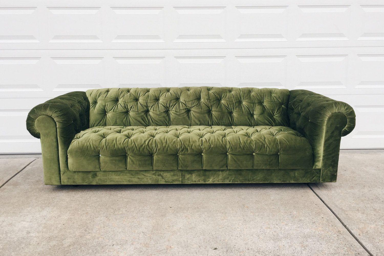 Green Velvet Chesterfield Sofa Vintage Tufted Sofa Green Velvet