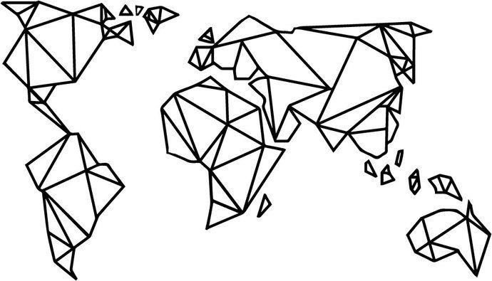 Geometric World Map Wallsticker   Edgy Origami map   Minimalist