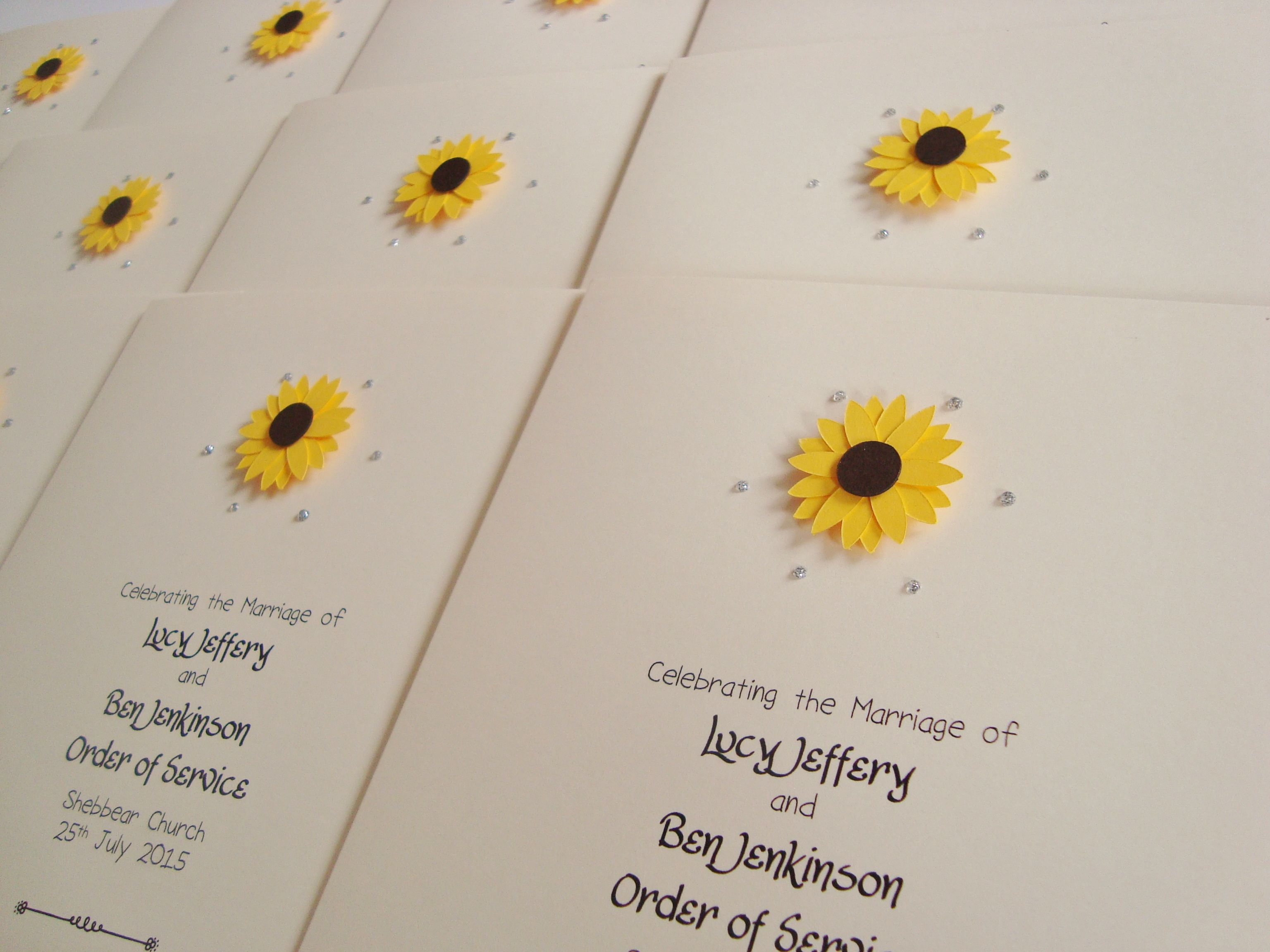 Sunflower Wedding Order Of Service Booklets Www Ohsopurrfect Co Uk