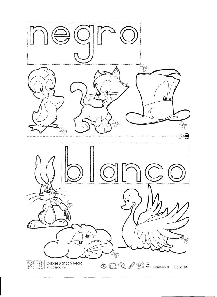 Ficha imprimible de trabajo. Colores blanco y negro