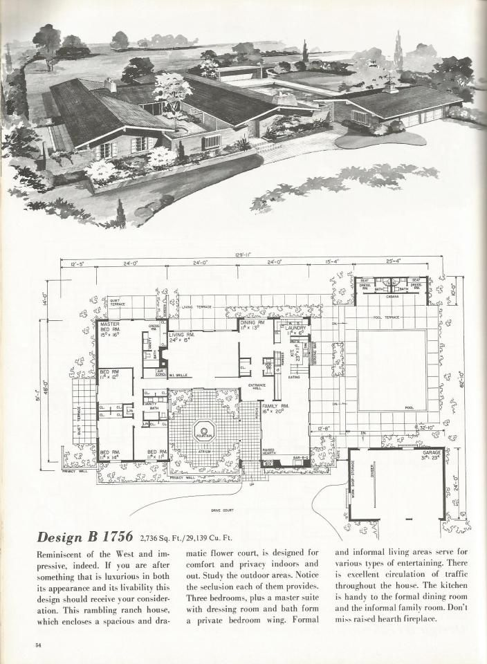 Vintage house plans western ranch houses house plans for Western floor plans