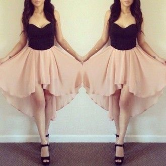 Dress Peach And Black Dresses High Heels Low Shoes Bag Skirt Beandeau Pink Rose Flattering Summer