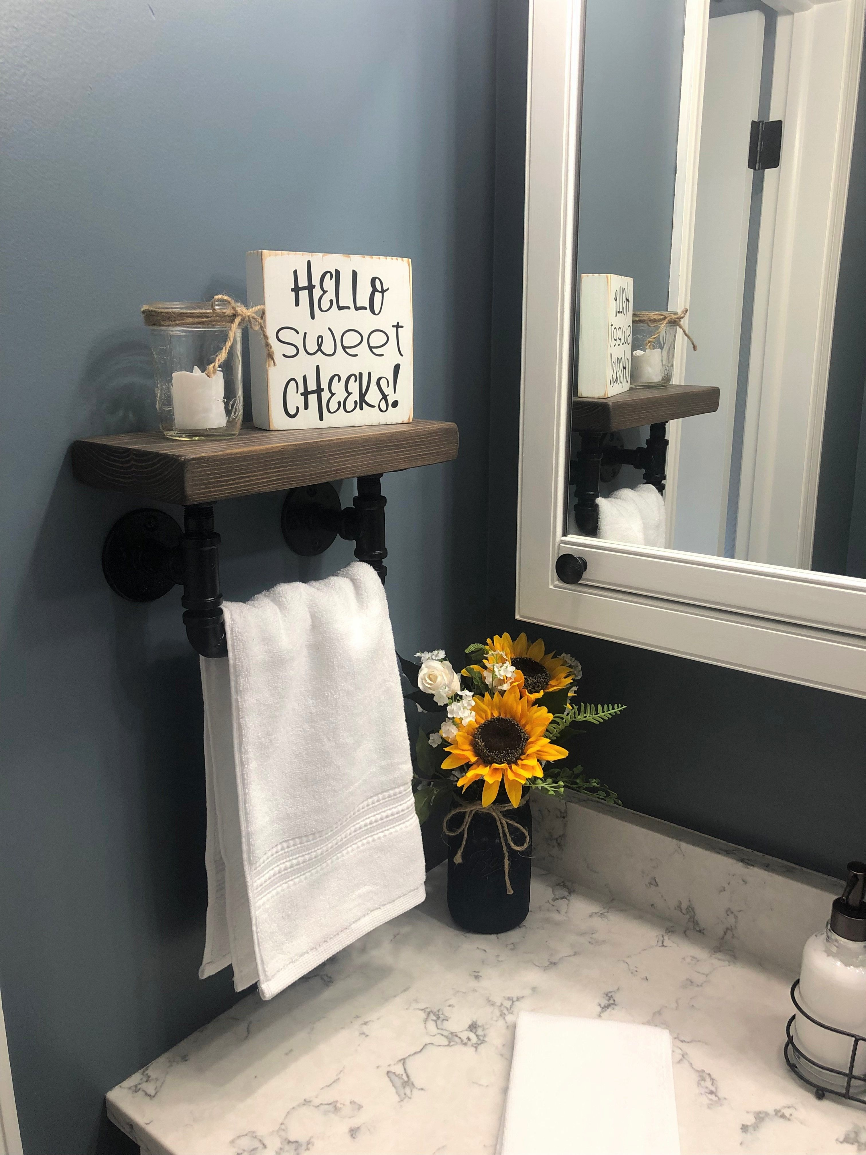 Farmhouse Bathroom Floating Shelf with Hand Towel Bar Rustic Design Handcrafted Restroom Decor