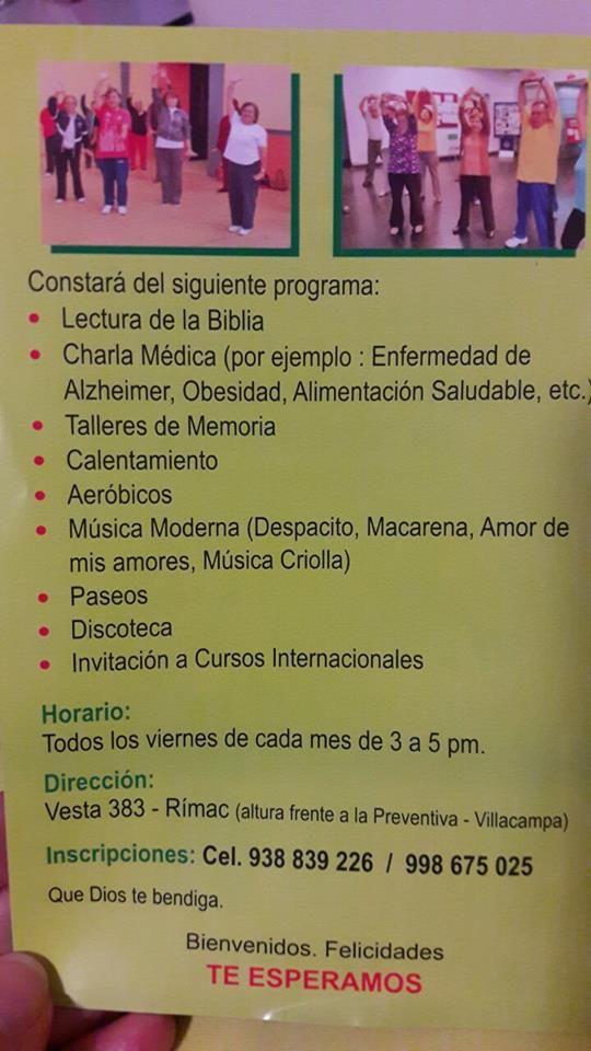 Rimac Programa De Salud Integral Del Adulto Mayor Central Informativa Del Adulto Mayor Programa De Salud Salud Integral Adulto Mayor