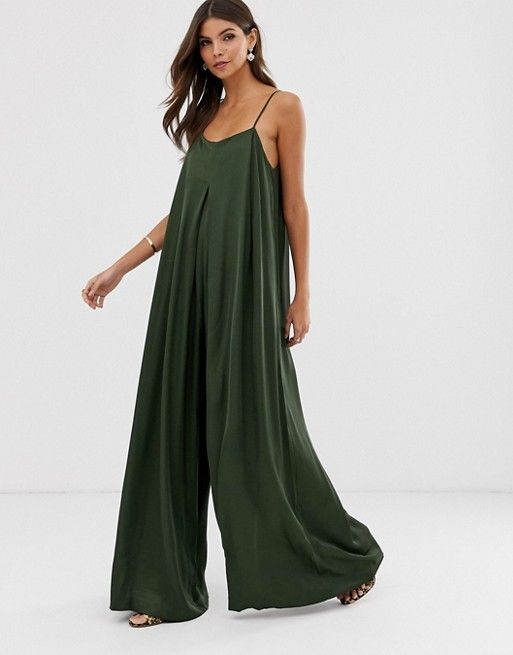 ASOS EDITION satin pleat front jumpsuit with extre