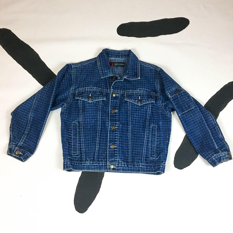 90s Checker Print Denim Jacket Jean Jacket Pattern Etsy Jacket Pattern Printed Denim Jacket Denim Jacket [ 1500 x 1500 Pixel ]