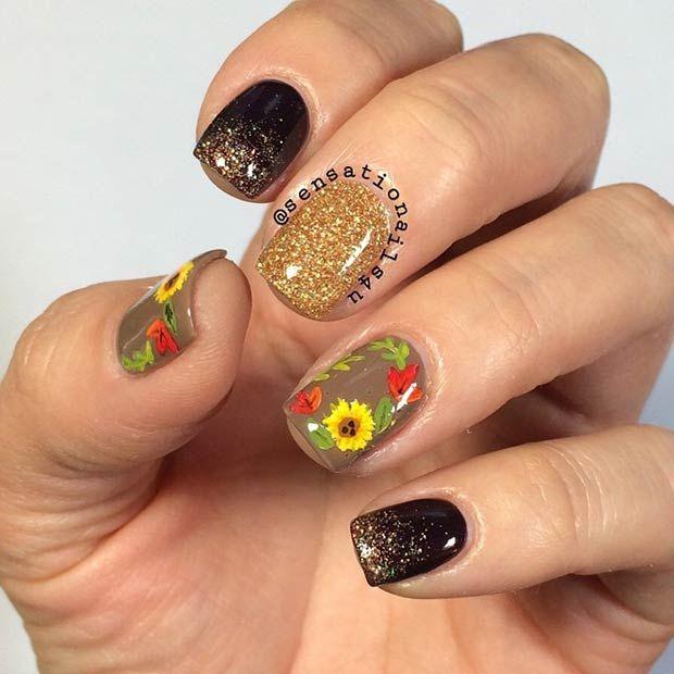Sunflower Fall Nail Art Design