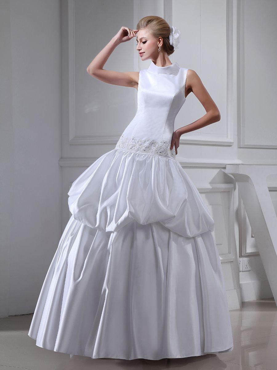 Satin and Organza Sleeveless Wedding Dress with Beaded Belt Brands:AmarantaFreeship:YESFabric:Satin/Organza/Stretch SatinFabric(main):WeddingTailoring Time (Standard):15-20 DaysTailoring Time (Rush Order):10-15 DaysSilhouette:Ball GownNeckline:High-neckSleeve Style:SleevelessWaist:DroppedBack…