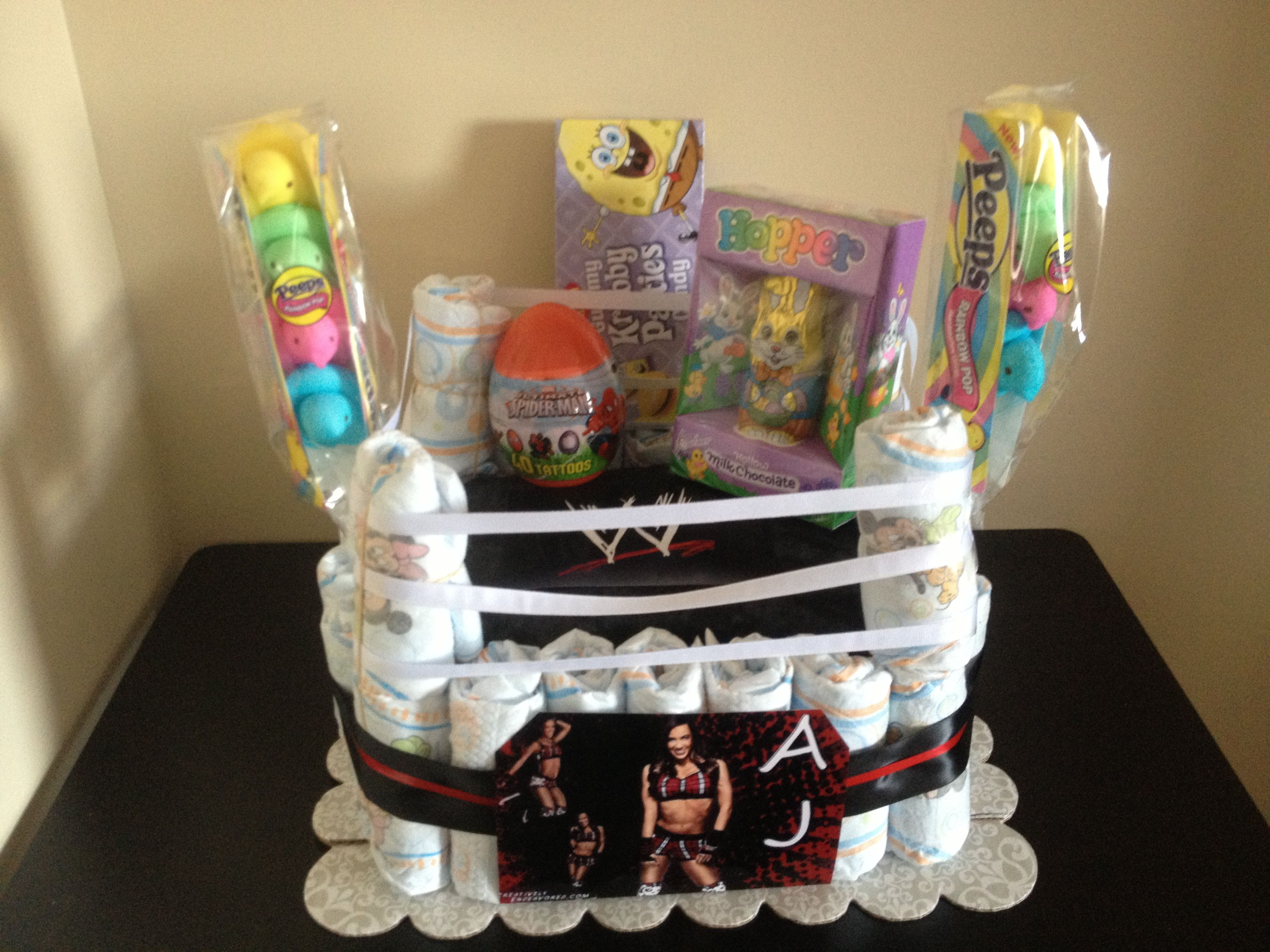 Wrestling inspired diaper cake i made at the request of my nephew wrestling inspired diaper cake i made at the request of my nephew for easter negle Gallery