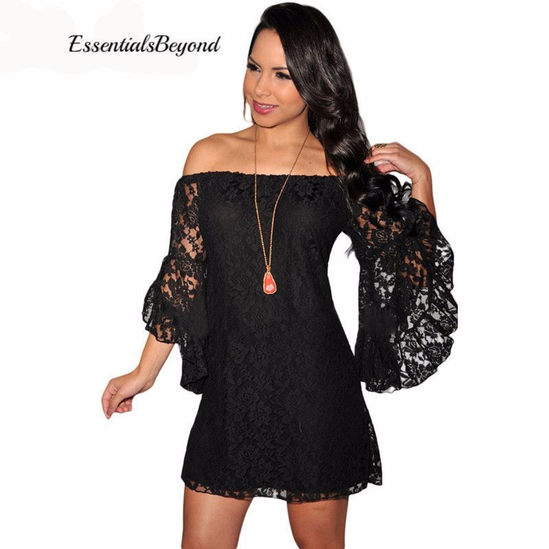 836d9d4c4f38 Comfortable   Sexy Cream Black Lace Off Shoulder Mini Dress ...