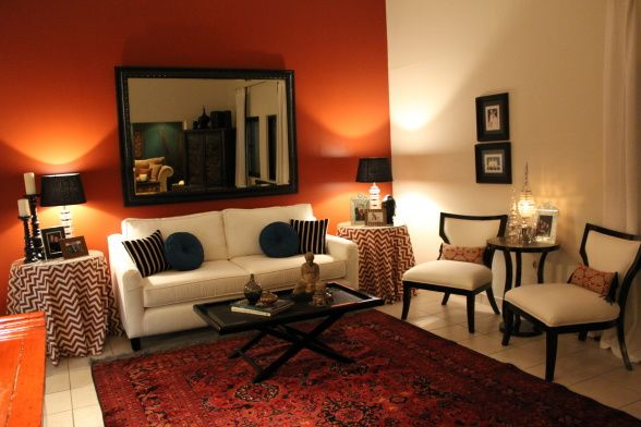 Burnt orange living room set for Living room ideas orange