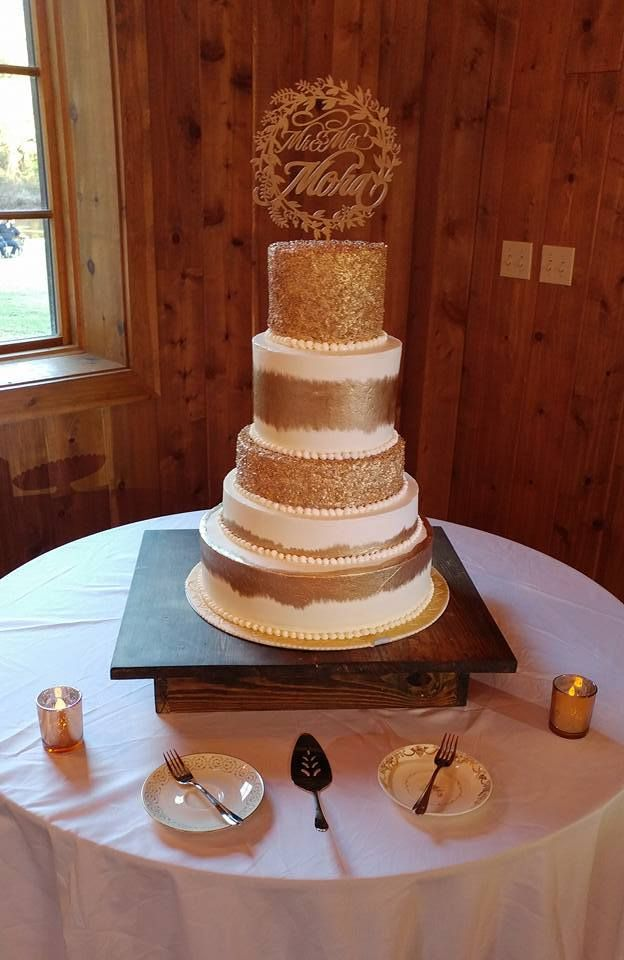 Tall White And Gold Wedding Cake Desserts By Holly At The Carriage House Houston Conroe