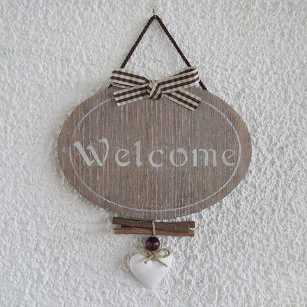 Targa per porta ovale in legno con scritta welcome - Scritte in legno shabby ...