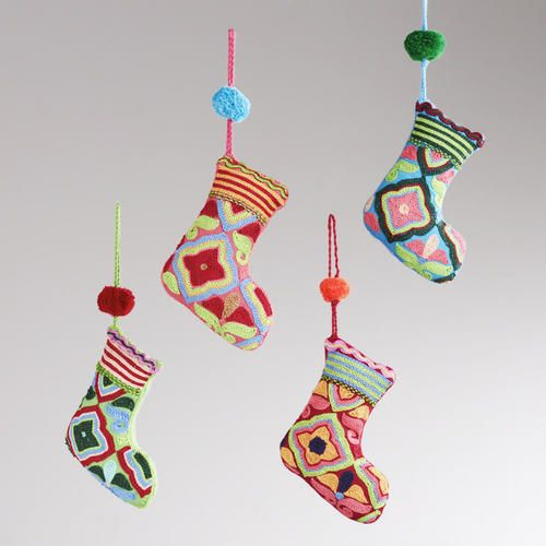 Embroidered Fabric Stocking Ornaments