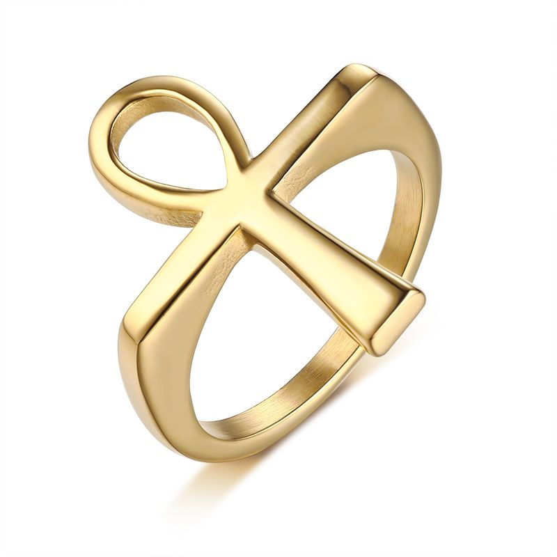 Wholesale Stainless Steel Ip Gold Ankh Ring For Sale Beautiful Jewelry Ring Mens Gold Jewelry Black Gold Jewelry