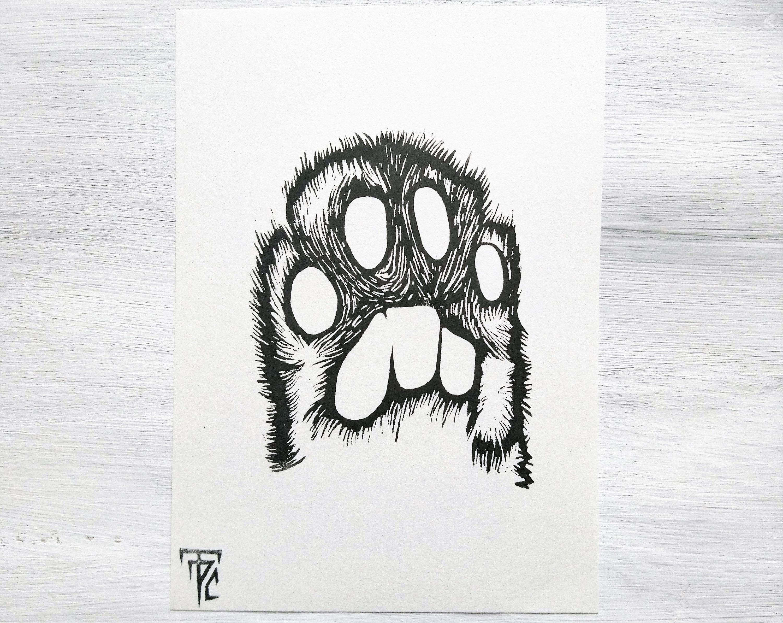 Katzenpfote Original Linoldruck Katze Linolschnitt
