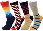 FULIER Mens Fashion Colourful Stripe Dot Grid Pattern Soft Crew Socks 4 Pairs,Cotton Rich,6-11 UK