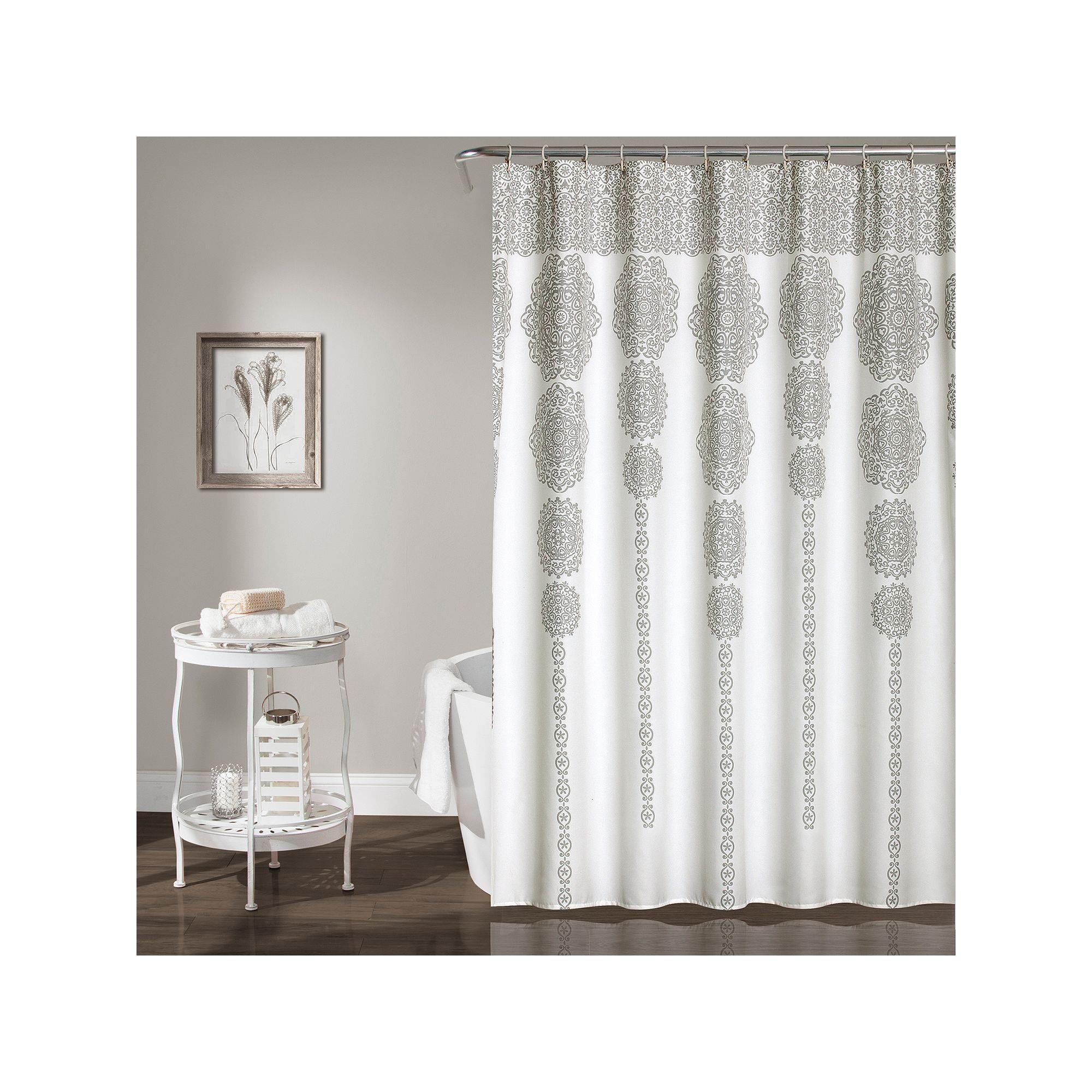 Lush decor stripe medallion shower curtain blue lush and products