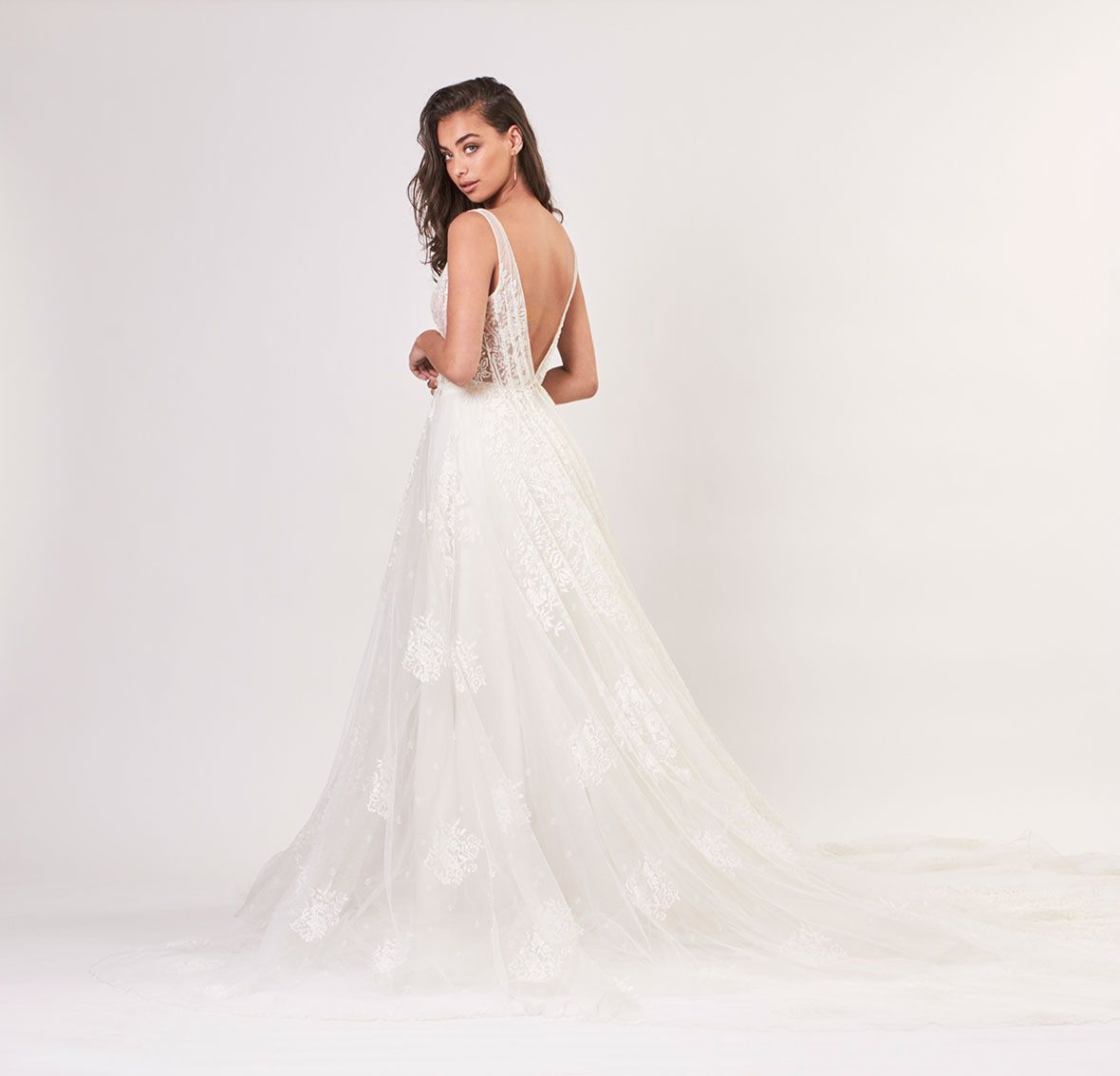 Lace wedding dress with train  HELENA  Mira Mandic  bridal couture gown long lace wedding dress
