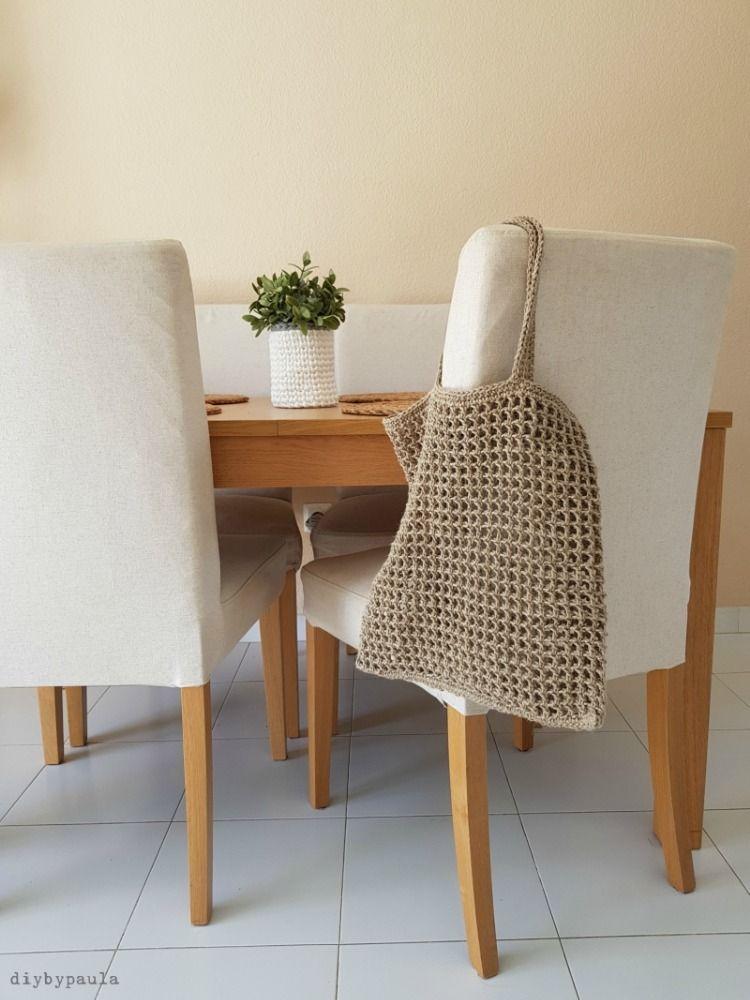 Patron Gratis Crochet: Bolsa De Red Con Lino Natural. En