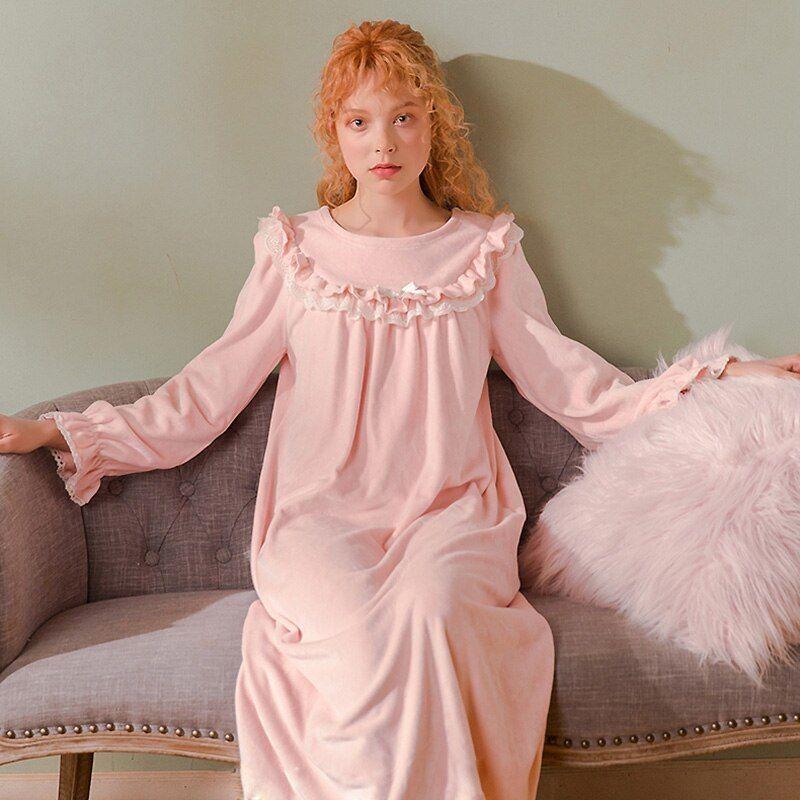 Damen Lolita Nachthemd Kleid Spitze Prinzessin Fairy Nachtwäsche Ruffles Ärmel