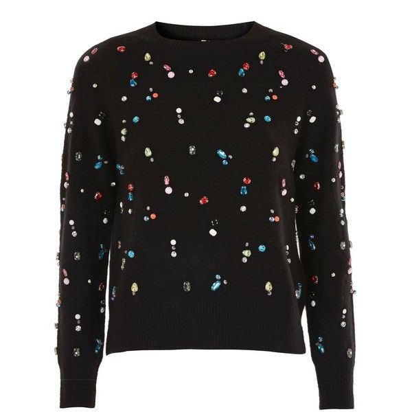 TopShop Christmas Jewelled Sweater ($110) ❤ liked on