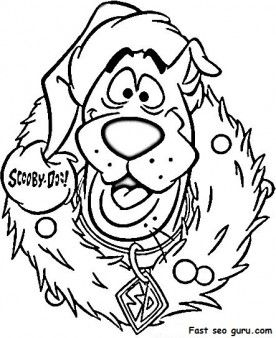 Print Out Scooby Doo Wreath Christmas Coloring Pages Printable