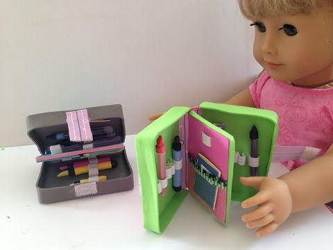 7a1713414390b How to make American Girl Doll school supplies  a pencil case - YouTube
