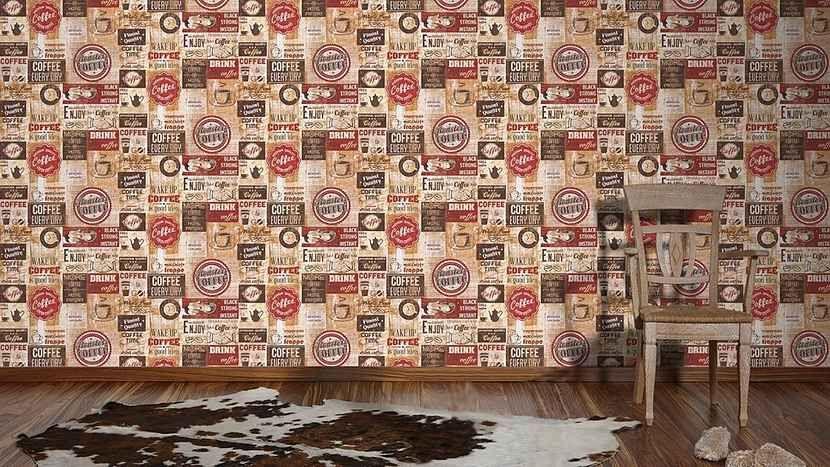 Papiertapete, Livingwalls, »Vintage Tapete Simply Decor«, Kaffee - retro tapete wohnzimmer