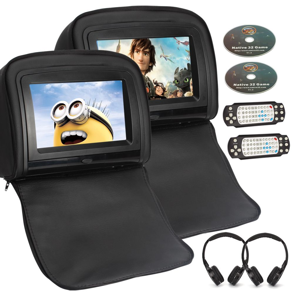 Pumpkin 1 pair 9 inch touchscreen car headrest dvd player with hdmi port not include
