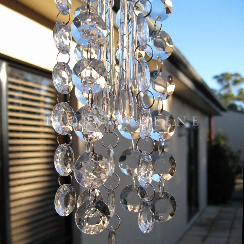 New Sparkling Garden Clear Crystal Chandelier Wind Chime Hanging ...