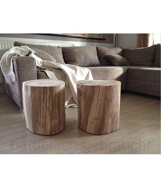Beistelltische Baumstammduo Hocker Beistelltisch Nachttisch Ein