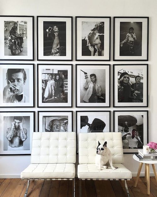 Grid photography wall with matching black frames and cream white matting design trends what i am loving for 2017 the decorista
