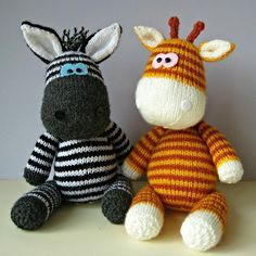 Gerry Giraffe and Ziggy Zebra Knitting pattern by Amanda Berry | Knitting Patterns | LoveKnitting