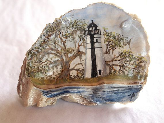 Hand Painted Lighthouse Oyster Shell by CoquilleCottage on Etsy, $65.00