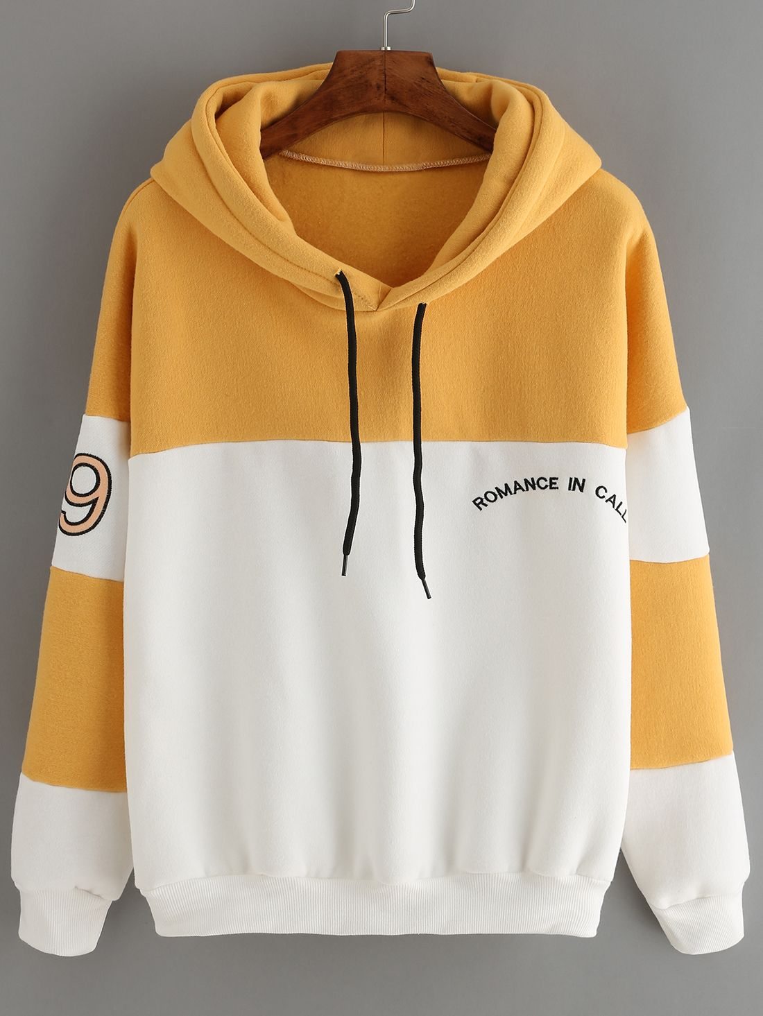 ColorBlock Letter Embroidered Sweatshirt With Drawstring