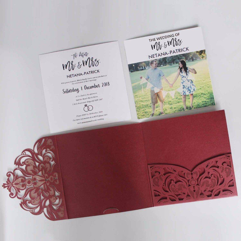 Elegant Laser Cut Wedding Invitation Set Wine Red Pocket Fold ...